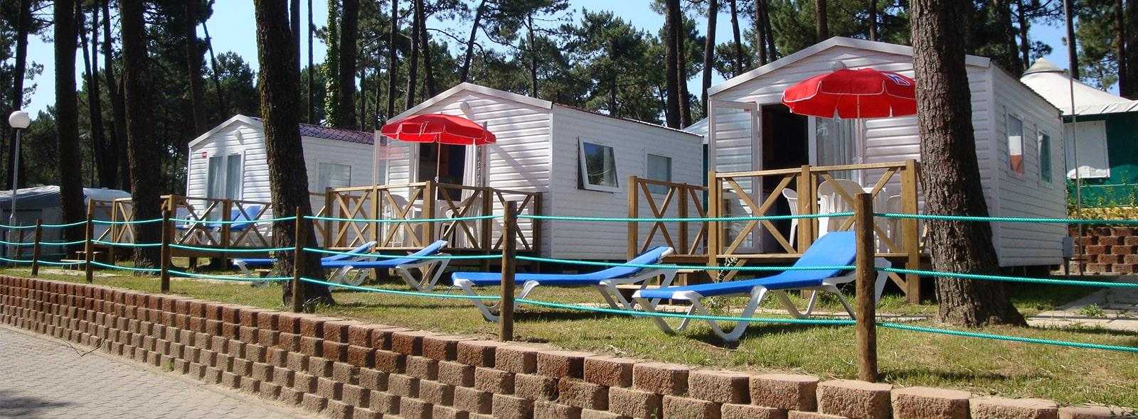 Allée mobile homes pinède camping Orbitur Viana do Castelo au Portugal